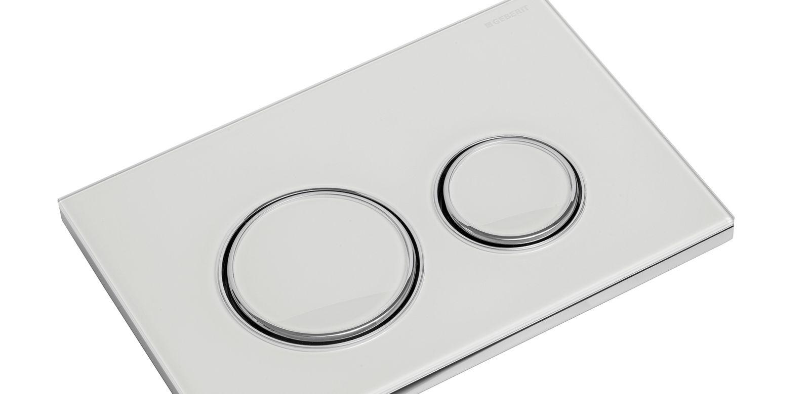 WC Betätigungsplatte in weiß mit zwei runden Zierrahmen aus Zinkdruckguss