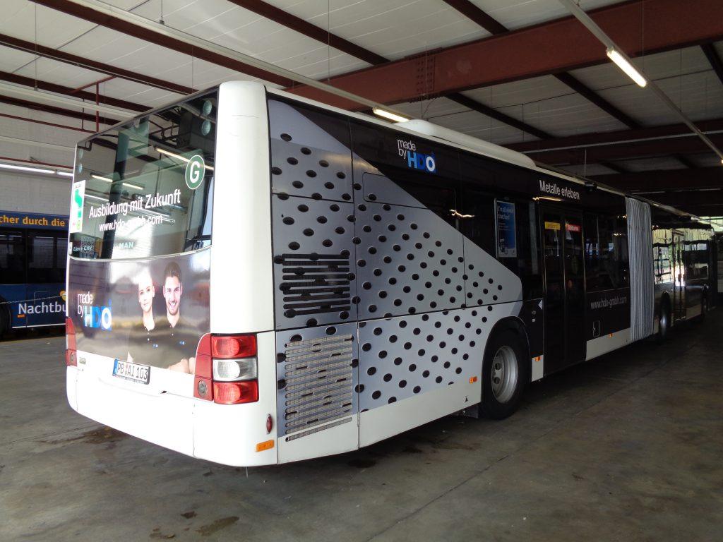 HDO Verkehrsmittelwerbung auf einem Bus