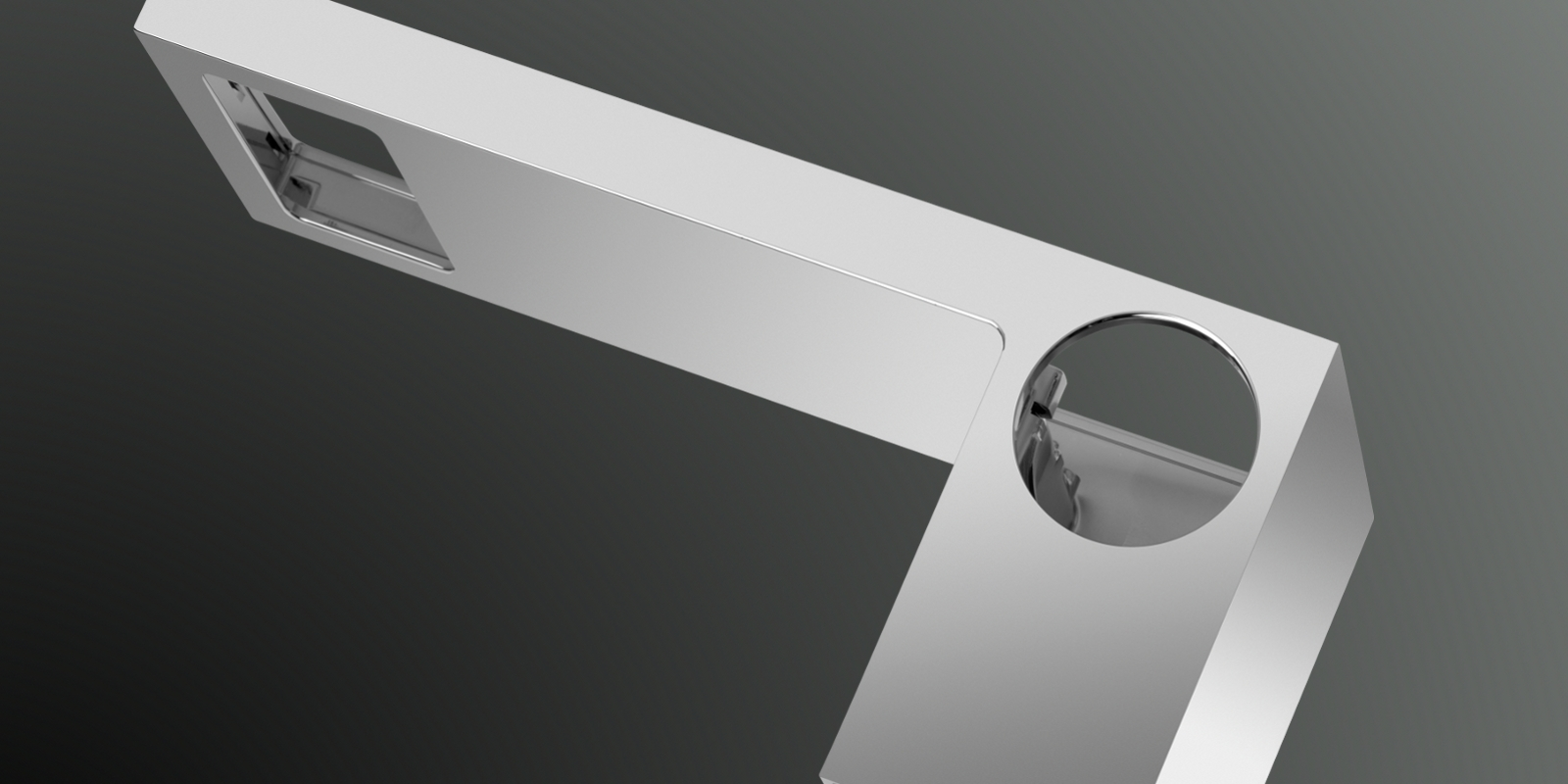 Metallgehäuse einer Designarmatur fürs Badezimmer