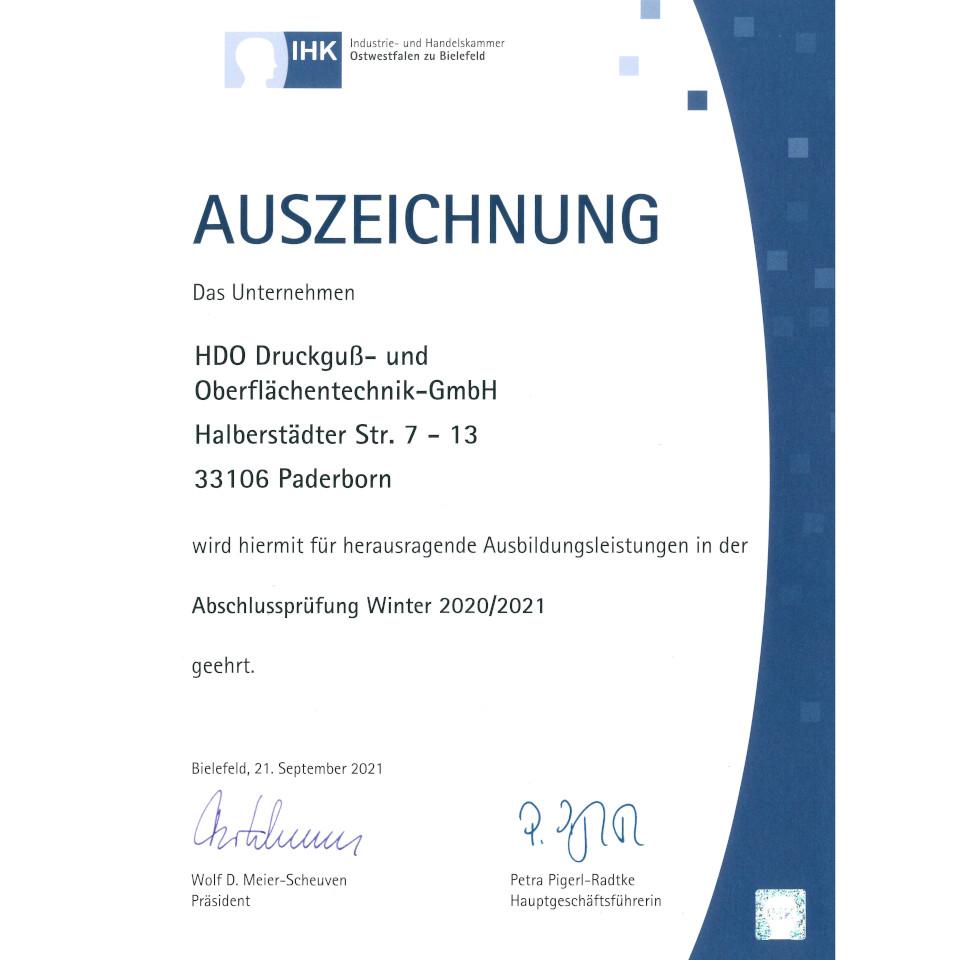 HDO Urkunde herausragende Ausbildungsleistungen